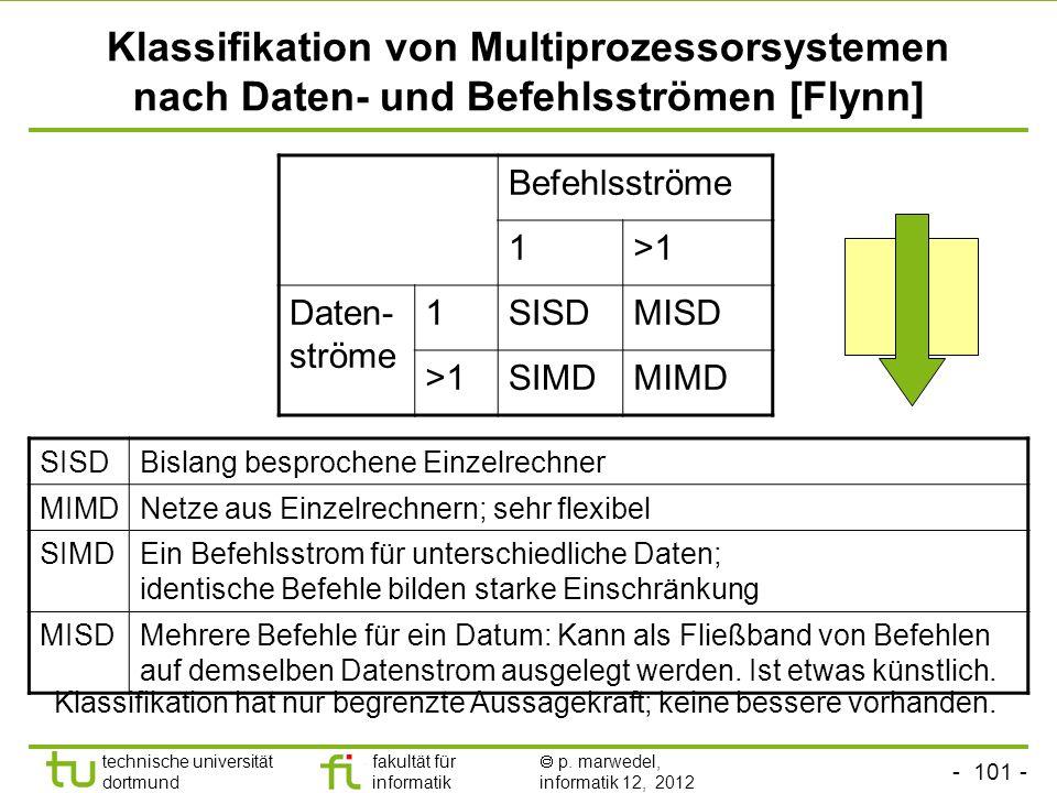 Klassifikation von Multiprozessorsystemen nach Daten- und Befehlsströmen [Flynn]